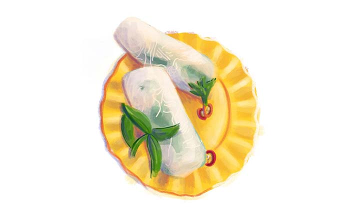An illustration of rice paper rolls