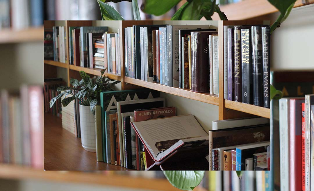 A photograph of a bookshelf
