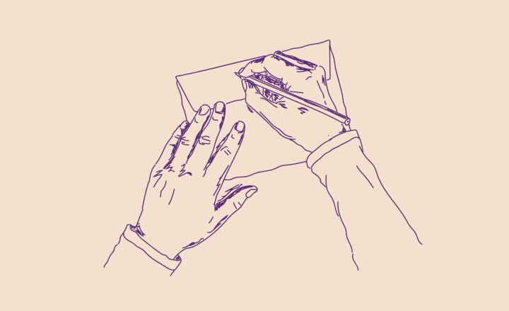 Illustration of two hands. One hand is holding an envelope while the other writes on the back of it.