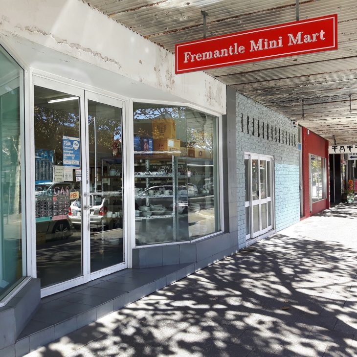 The shop front of the Fremantle Mini Mart.