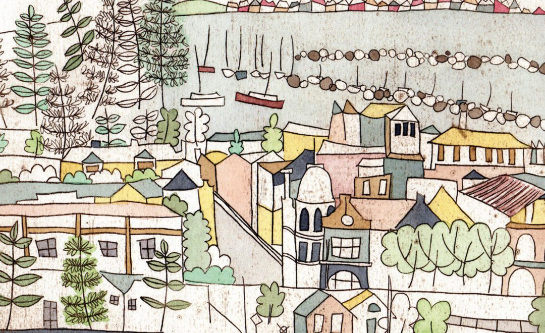 An illustration depicting Fremantle harbour and some town houses and trees. Image provided by Beau Est Mien