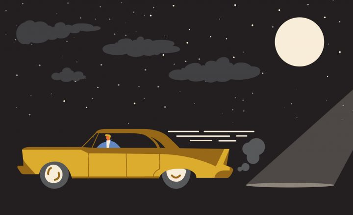 An illustration of an old car driving through the night