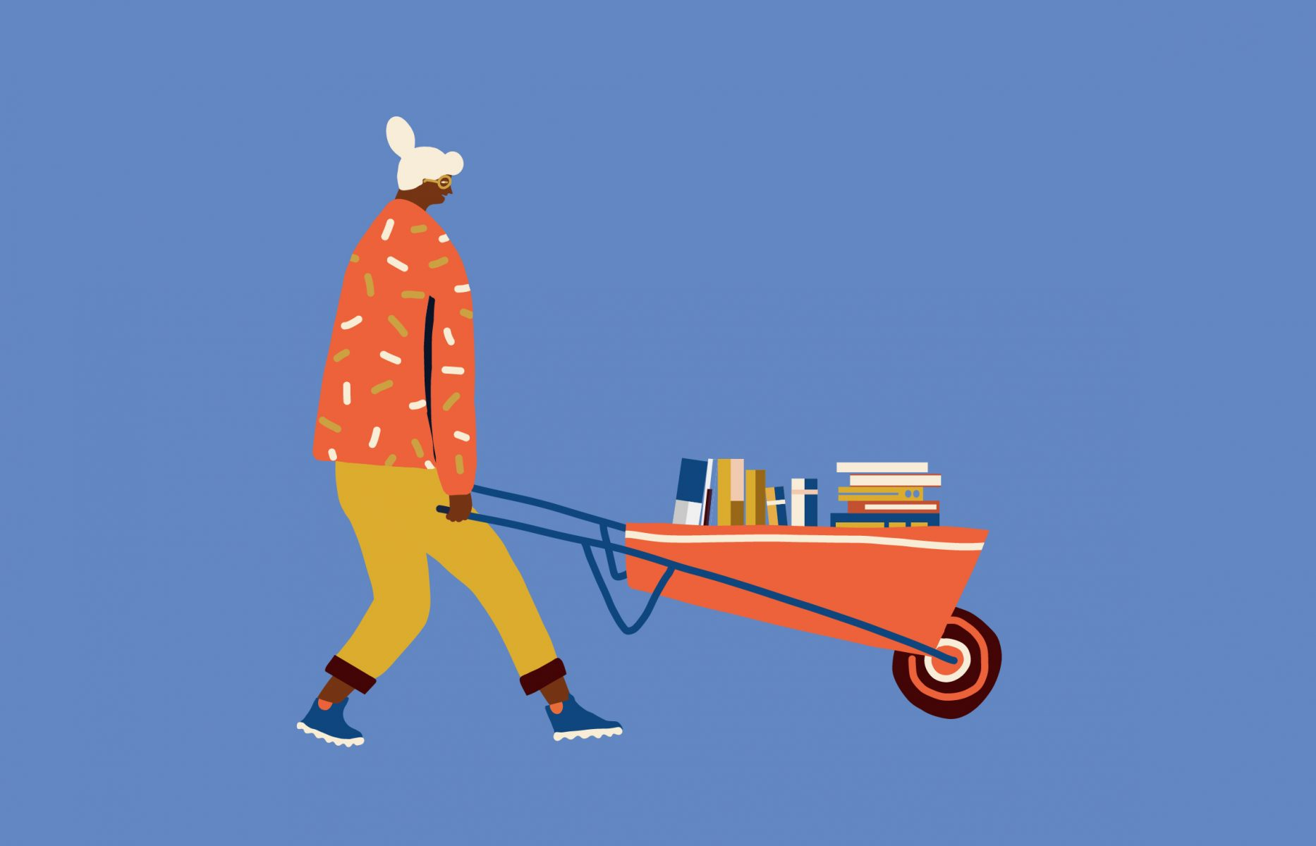 An illustration of a person carrying books in a wheel barrow