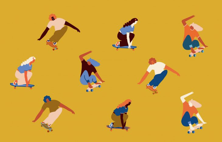 An illustration of lots of women skateboarding