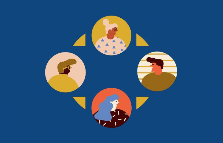 Illustration of four people facing each other in conversation. They all have different skin tones, hair styles, genders.