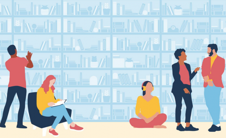 A group of diverse people searching through a book shelf