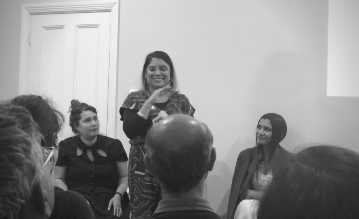 A woman sharing a story to an audience