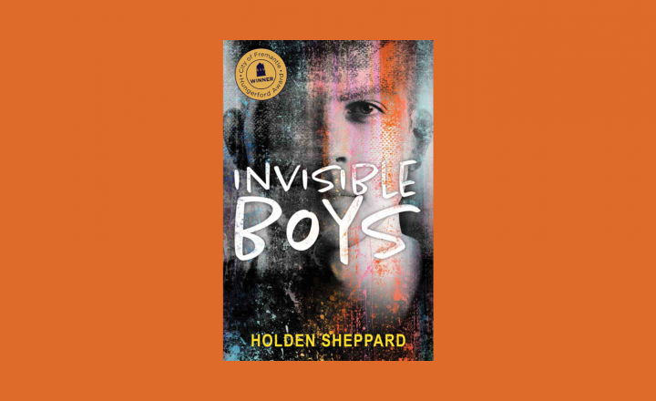 The cover image of Holden Sheppard's book: Invisible Boys. On the cover is the blurred out face of a young man. There is splodges of colour and smudges covering parts of his face.