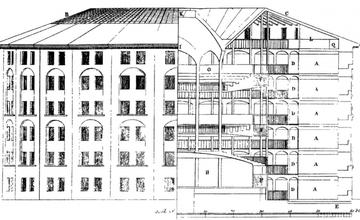 A black and white drawing of a Panopticon
