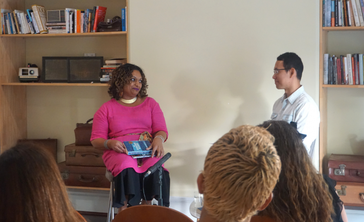 A photo of Roanna and Chris in conversation at the Centre for Stories