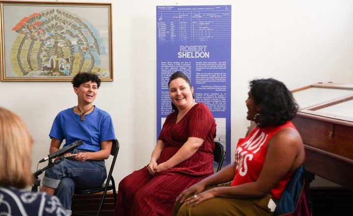 Photo of Mani Mae Gomes, Shenali Perera and Lisa Longman in conversation for Side Walks 2019
