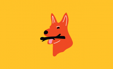 A bright yellow background with an illustration of a red kelpie holding a stick in its mouth