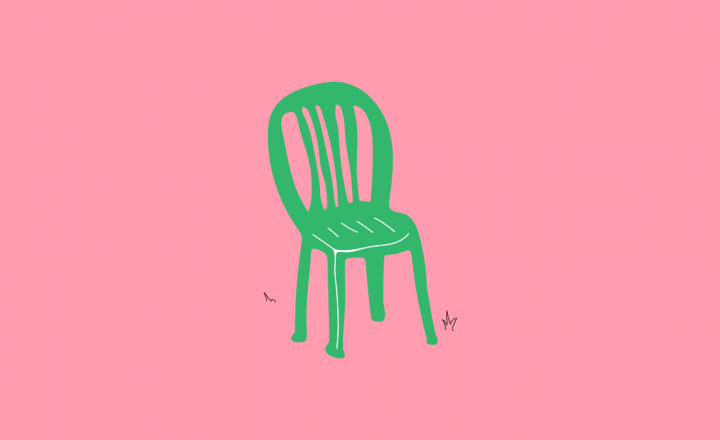A bright illustration of a plastic green outdoor chair.