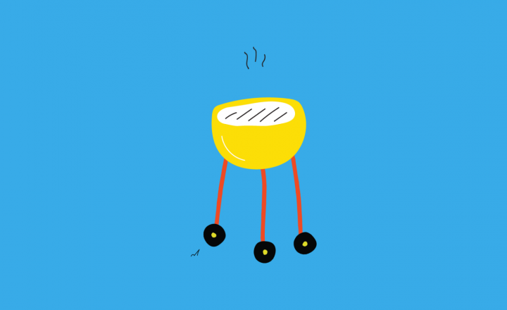 An illustration of a barbeque on a blue background