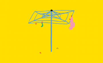 An illustration of a hills hoist on a yellow background