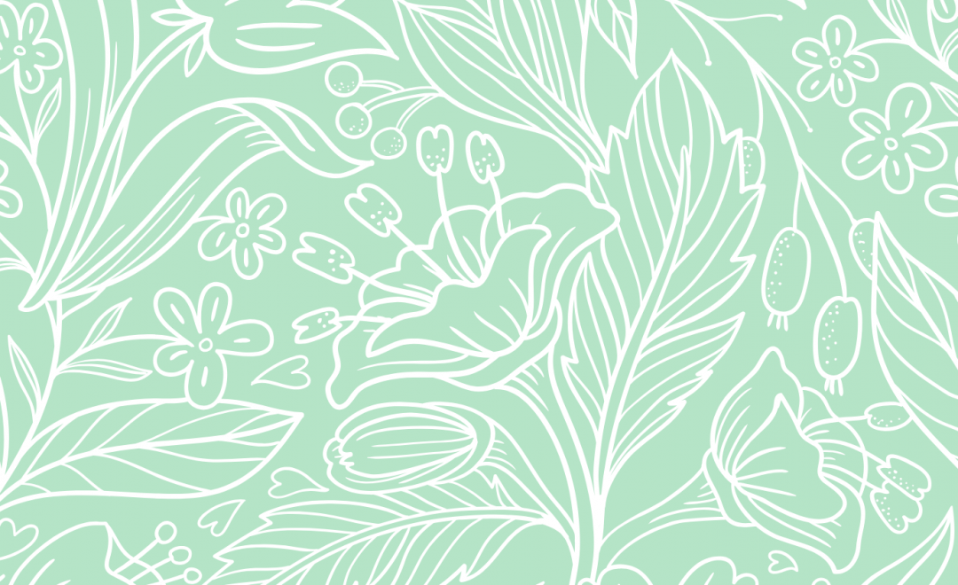 A bright mint green illustration of many flowers and leaves.