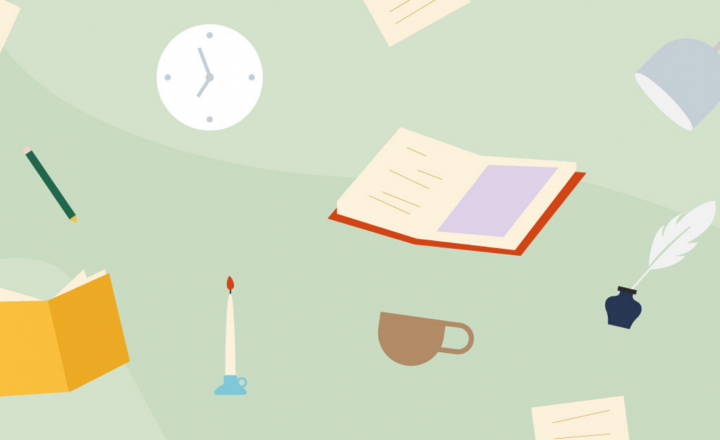 An illustration of books, cups of cofee, a clock, a candle, and a lamp floating in a light sage green background