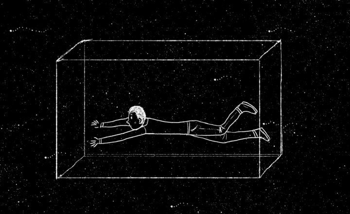 A black and white image of a man in the stars stuck in a box