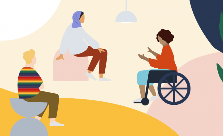Graphic illustration of three people sitting around speaking. One wears a scarf on their head, one is in a wheelchair, and one is wearing a stripy rainbow jumper.