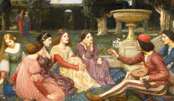 An photograph or scanning of a very old painting called The Decameron by John William Waterhouse