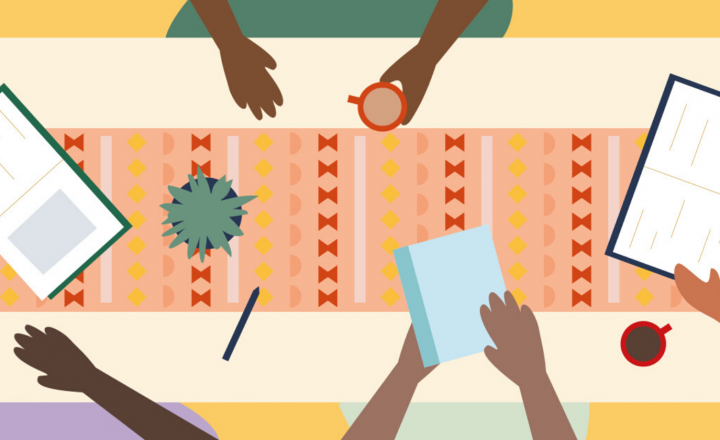 An illustration of people gathering a table with books, reading and sharing ideas.