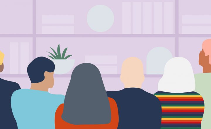 An illustration of many different people sitting together by a bookshelf. The Bookshelf is a light lavender purple colour.