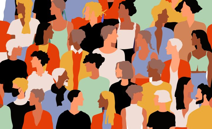 Graphic illustration of many different people standing in a crowd.