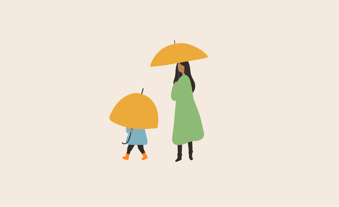Graphic illustration of a woman standing with an umbrella next to a child also with an umbrella.