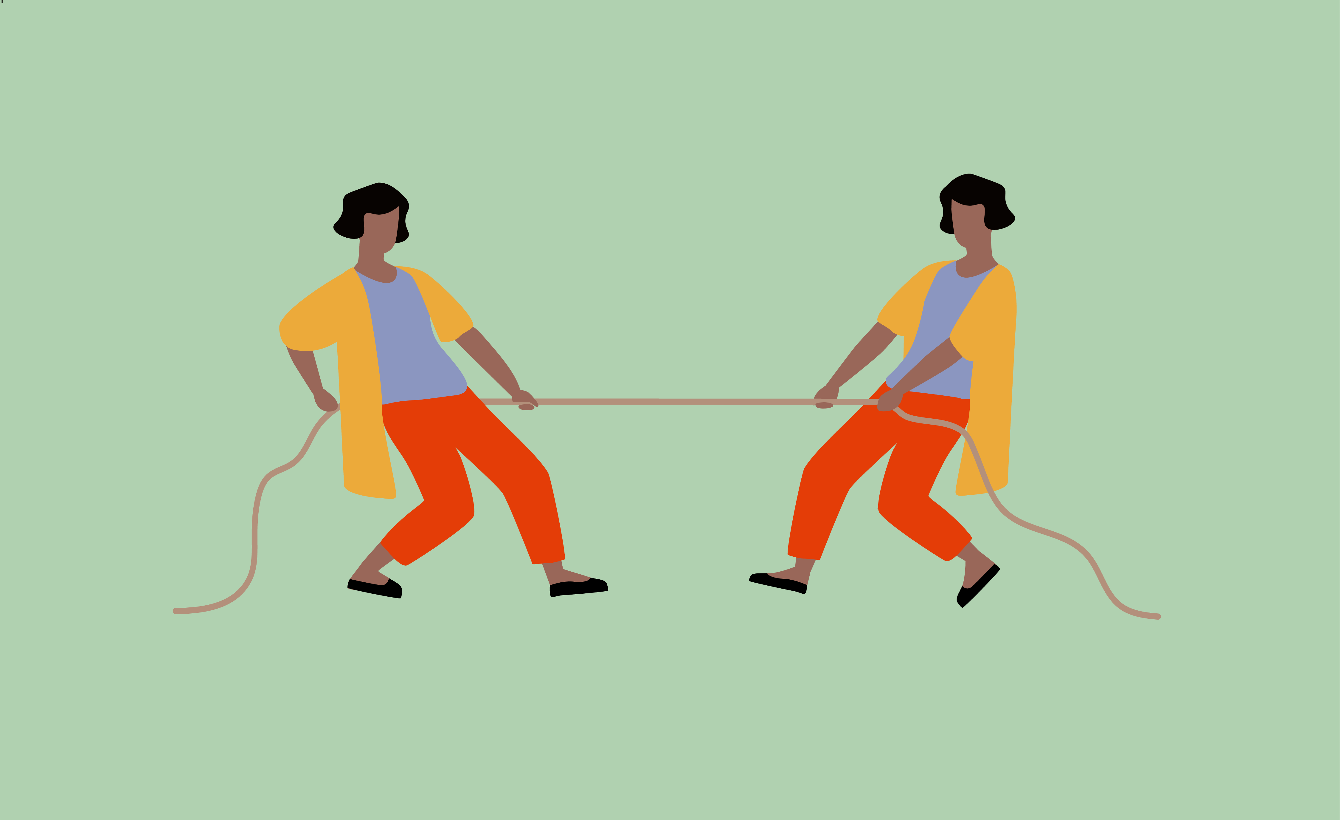 Graphic illustration of two people who look exactly the same doing tug-of-war with a piece of rope