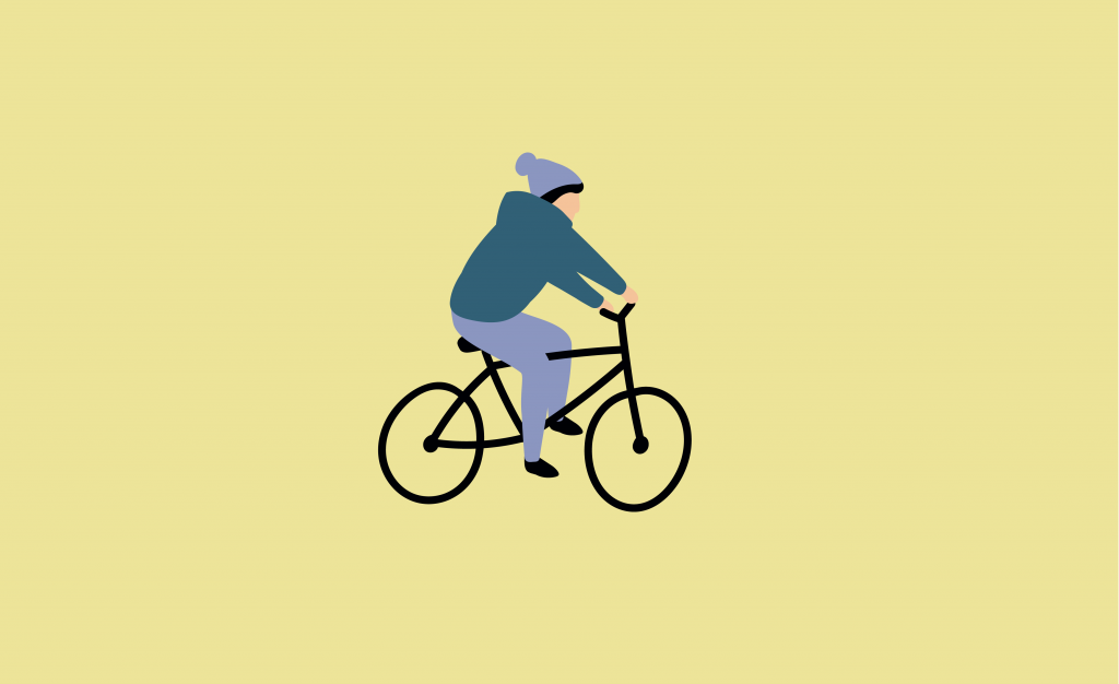 Graphic illustration of a child riding a bicycle