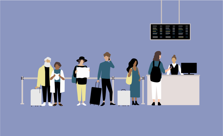 Graphic illustration of people lining up to embark on a plane at an airport