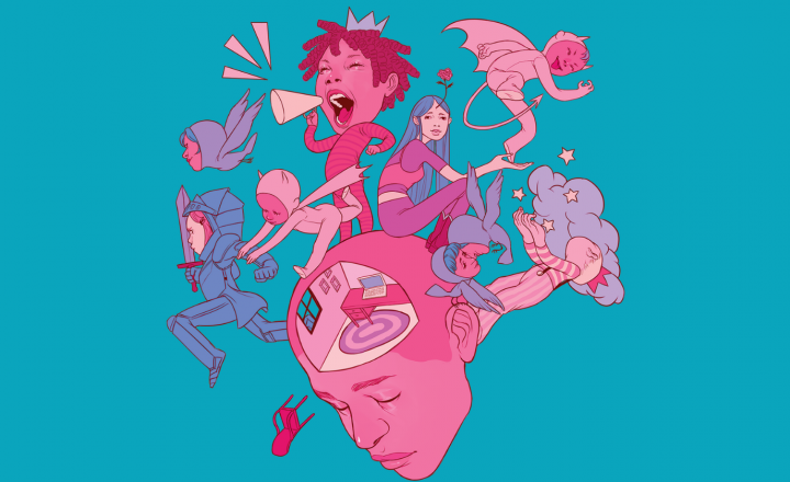A graphic illustration of a group of loud and outspoken people getting up to all kinds of fun things. The people are standing on top of a giant fuscia head that is turned down thinking.