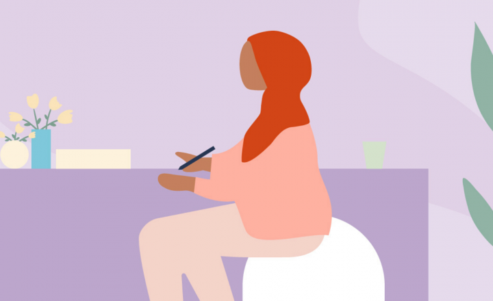 An illustration of a person wearing a headscarf sitting at a table writing. By their desk is a pot plant and flowers.