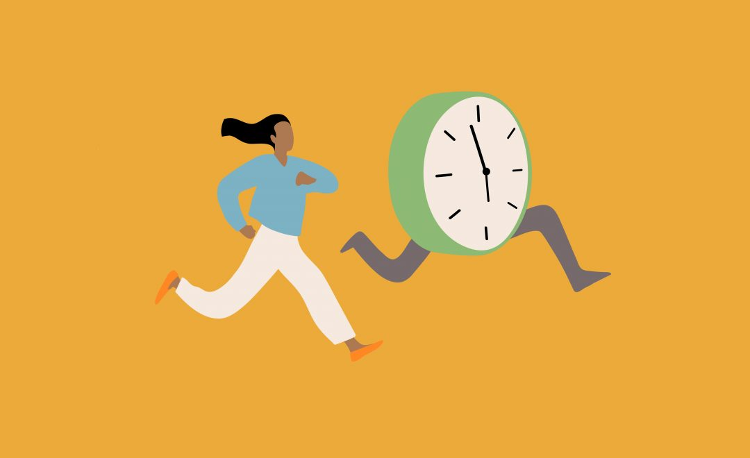 Graphic illustration of a woman running next to a large clock with legs