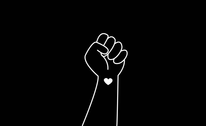Black Lives Matter closed fist symbol on a black background