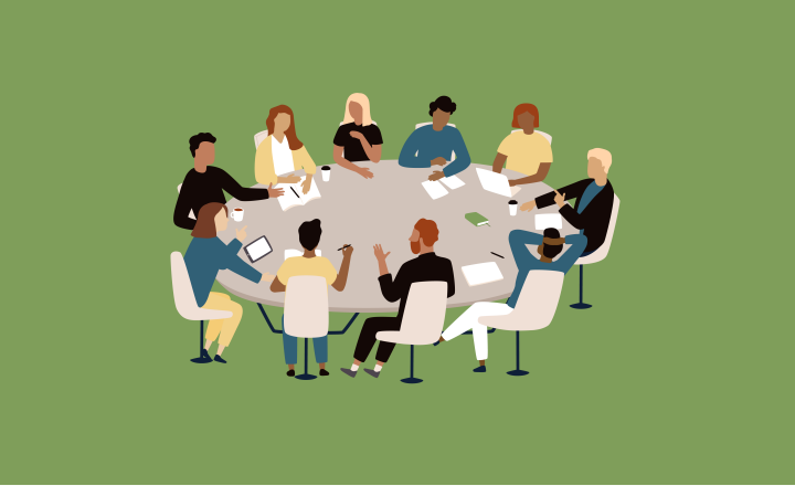 Graphic illustration of a group of people sitting around a round table