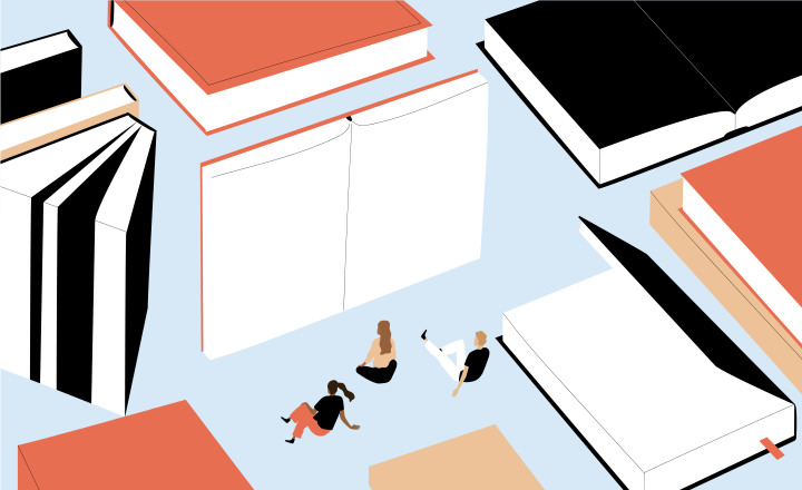 Graphic illustration of three people sitting around many giant books
