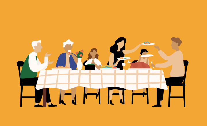 Illustration of a family having dinner together