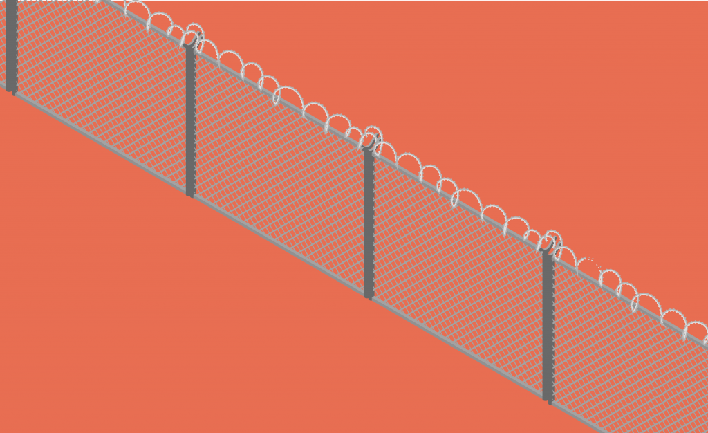 Graphic illustration of a barbed wire fence