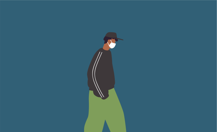Graphic illustration of a person with a mask on walking alone