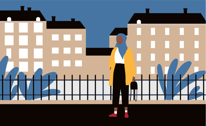 Illustration of a woman wearing a hijab walking along the foot path in front of tall apartment buildings