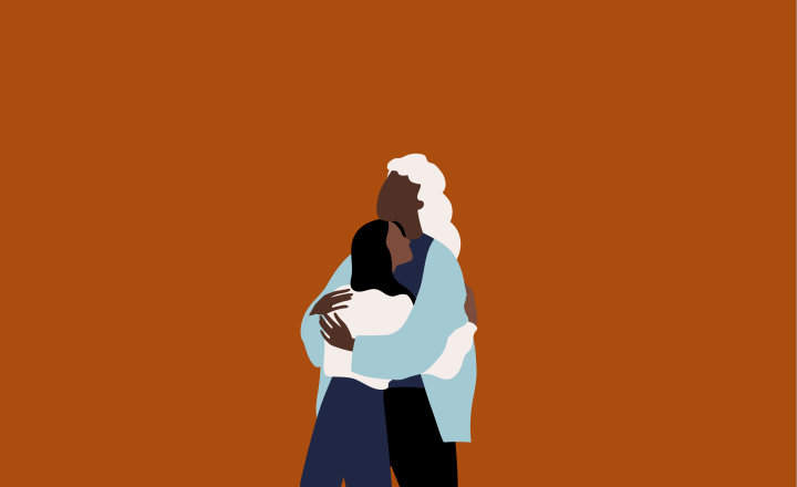 Illustration of a person with grey hair hugging a person with long black hair