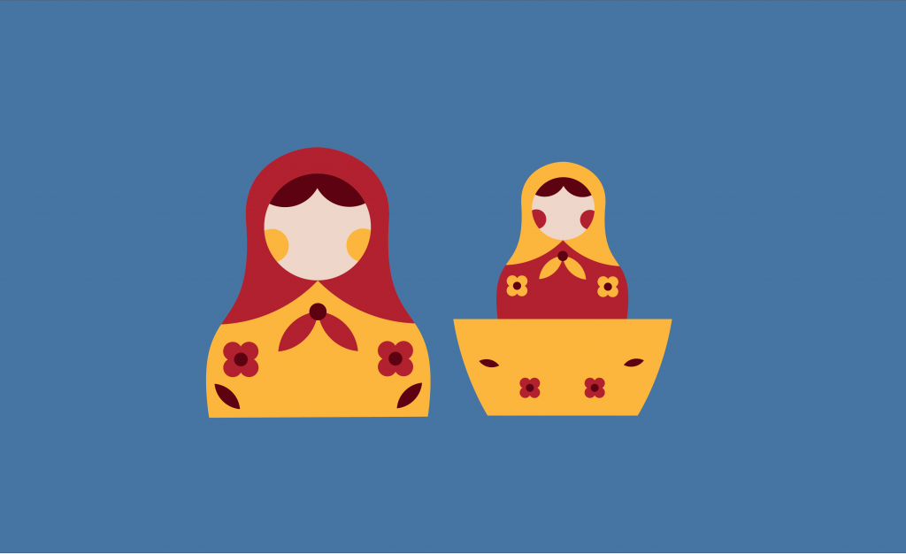 Illustration of two babushka dolls
