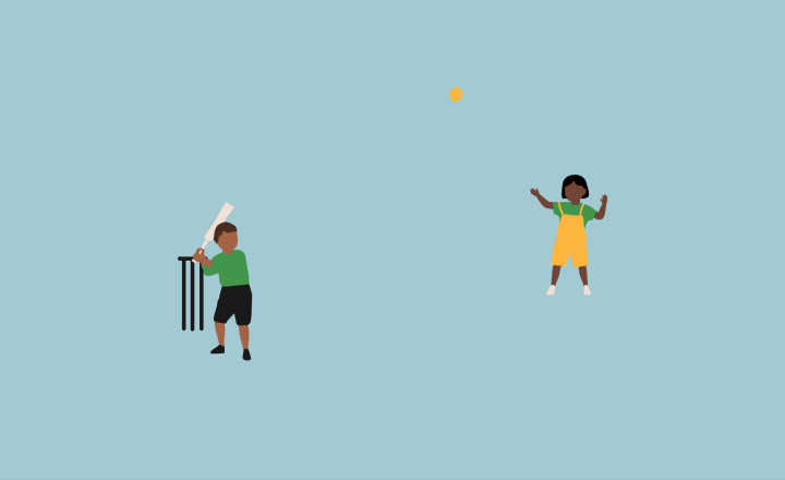 Illustration of two children playing cricket