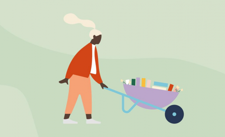 An illustration of a person pushing a wheelbarrow full of books.