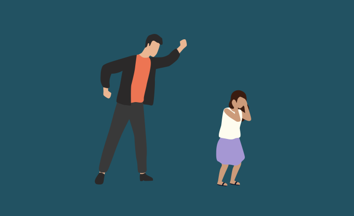 Illustration of a man yelling at a small child as she cries into her hands