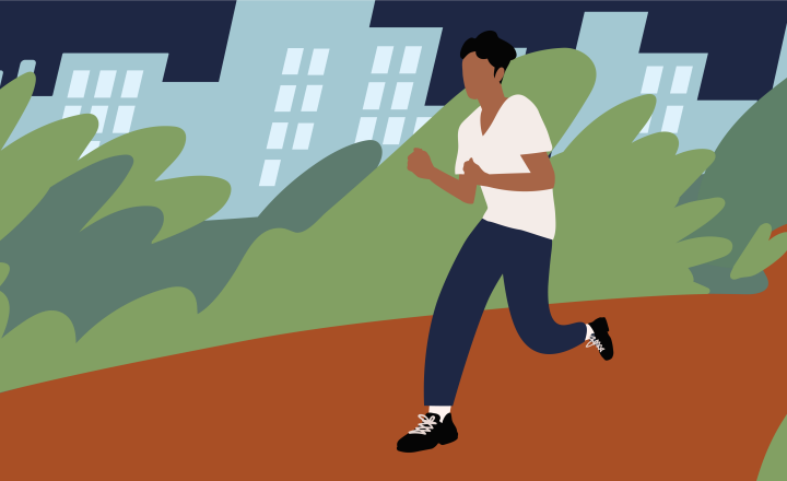Illustration of a person running through a park at night