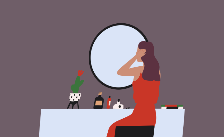 Illustration of a female figure sitting at a dressing table in front of a mirror