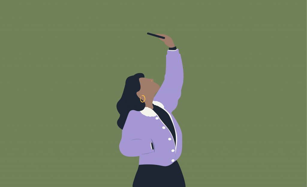 Illustration of a person with a nose ring holding their phone above their heads and taking a selfie
