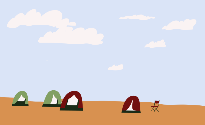 Illustration of tents in outback Australia